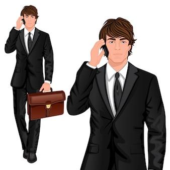 Carattere in piedi giovane uomo d'affari