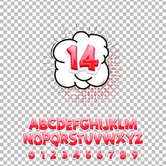 Carattere lettering fumetti 14 3d.
