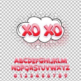 Carattere lettering fumetti xo xo 3d. alfabeto vettoriale