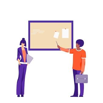 Carattere maschio casuale che mostra presentazione all'illustrazione piana della donna di affari