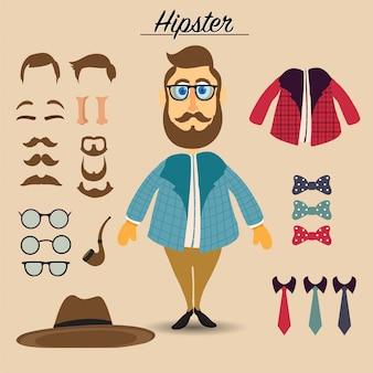 Carattere maschio hipster con elementi hipster e icone