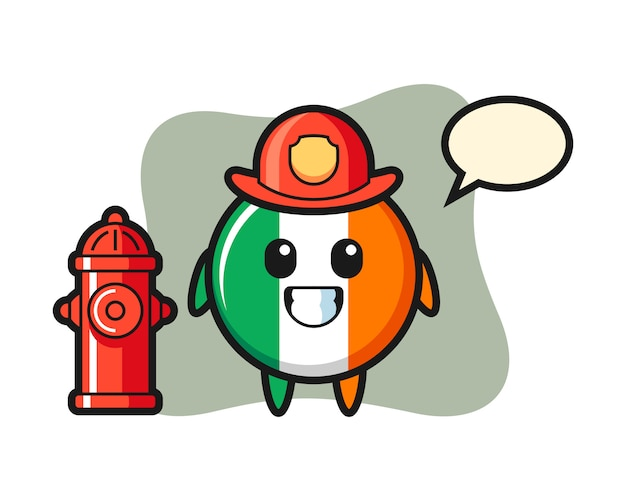 Carattere mascotte del distintivo bandiera irlanda come pompiere