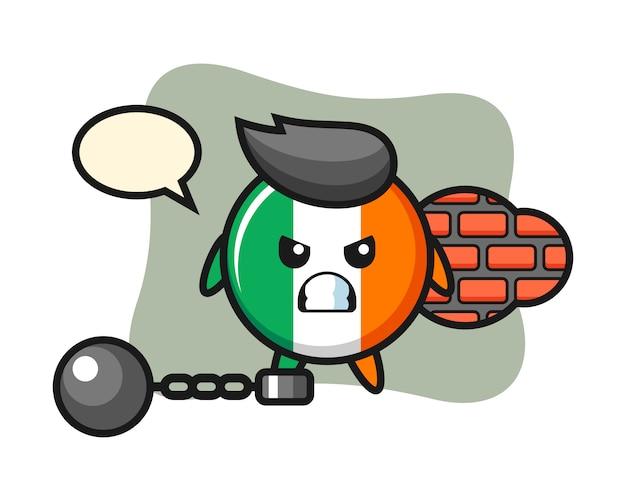 Carattere mascotte del distintivo bandiera irlanda come prigioniero
