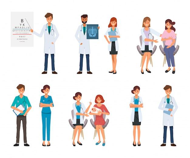 Carattere medico e paziente al trattamento in ospedale sanitario.