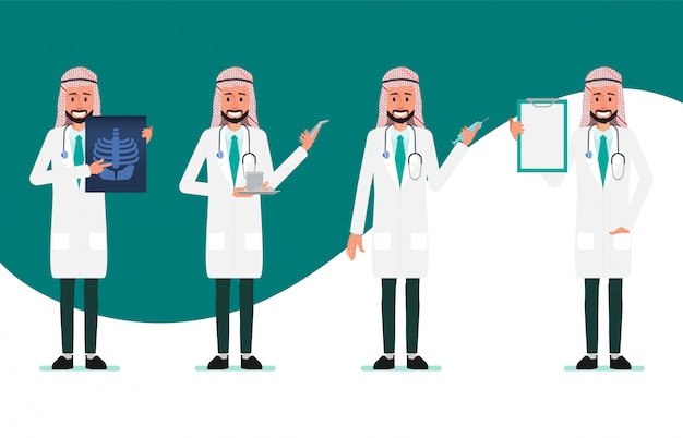 Carattere medico musulmano e arabo. lavoratore ospedaliero e personale medico.