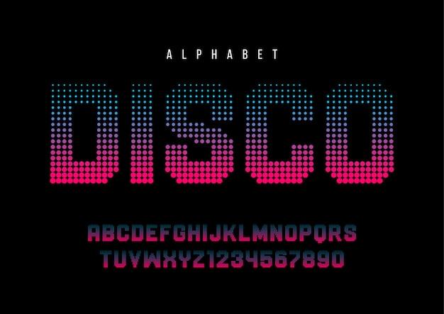 Carattere mezzatinta punteggiato discoteca con alfabeto,