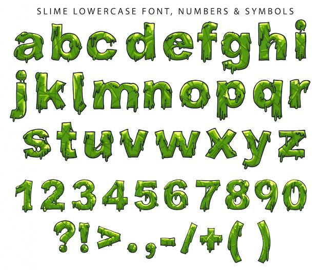 Carattere minuscolo, numeri e simboli della melma