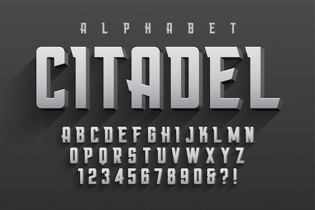 Carattere originale condensato vettoriale con alfabeto, carattere
