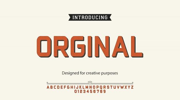 Carattere originale. per etichette e disegni di tipi diversi