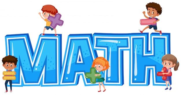Carattere per la parola matematica con i bambini