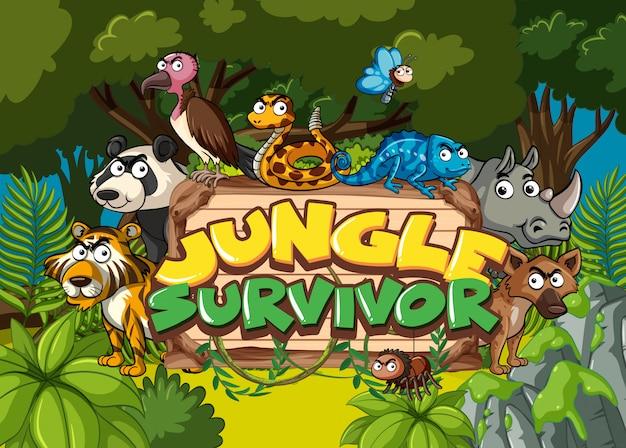 Carattere per sopravvissuto nella giungla con animali selvatici