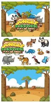 Carattere per sopravvissuto nella giungla con molti animali sul campo