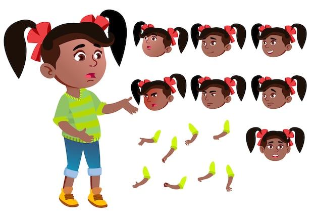 Carattere ragazza bambino. africano. costruttore di creazione per l'animazione. affronta le emozioni, le mani.