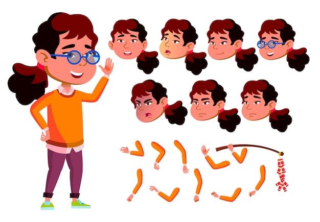 Carattere ragazza bambino. asiatico. costruttore di creazione per l'animazione. affronta le emozioni, le mani.