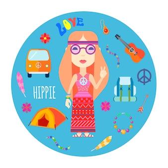 Carattere ragazza hippie con accessori per chitarra e zaino capelli rossi