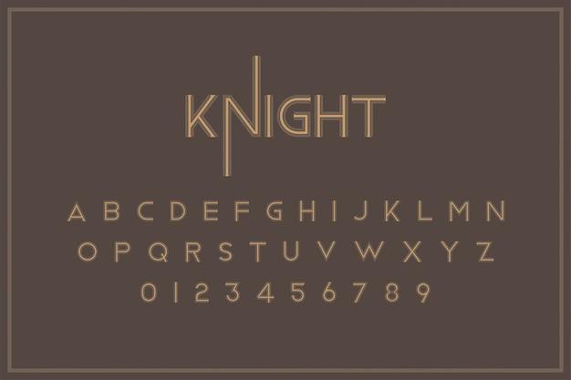 Carattere reale vintage originale una serie di lettere e numeri in stile retrò