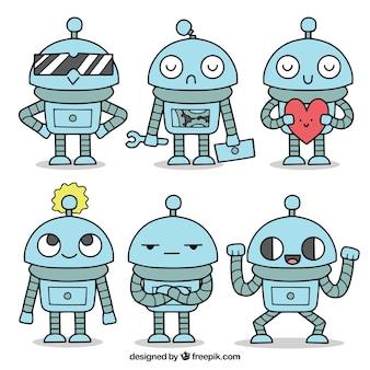 Carattere robot disegnato a mano con collezione di pose diverse