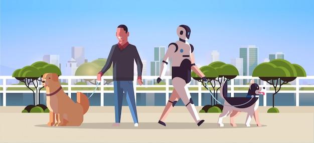 Carattere robotico e uomo che cammina con il robot dei cani contro la condizione umana insieme all'orizzontale integrale di paesaggio urbano di concetto di tecnologia di intelligenza artificiale del parco pubblico degli animali domestici