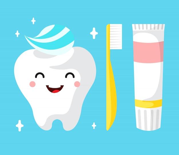 Carattere sano del dente del fumetto sveglio che sorride felicemente dente con dentifricio in pasta.