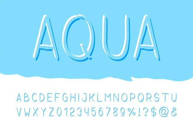 Carattere sans serif con pennello aqua