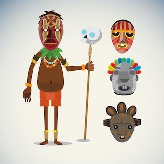 Carattere sciamano africano con set di maschere.