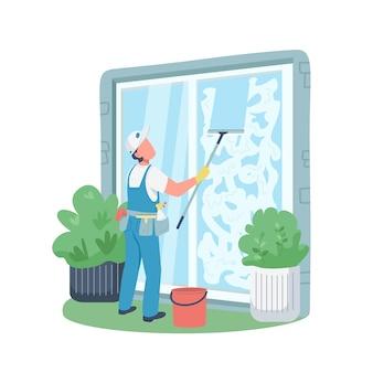 Carattere senza volto di colore piatto bidello professionale. finestre di lavaggio più pulite fuori dall'illustrazione isolata del fumetto per progettazione grafica e animazione di web. attività di pulizia della casa
