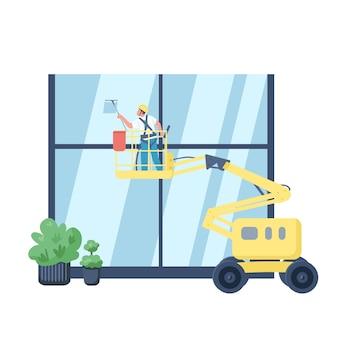 Carattere senza volto di colore piatto lavavetri. bidello sull'ascensore lavaggio edificio esterno isolato fumetto illustrazione per web design grafico e animazione. servizio di pulizie commerciale