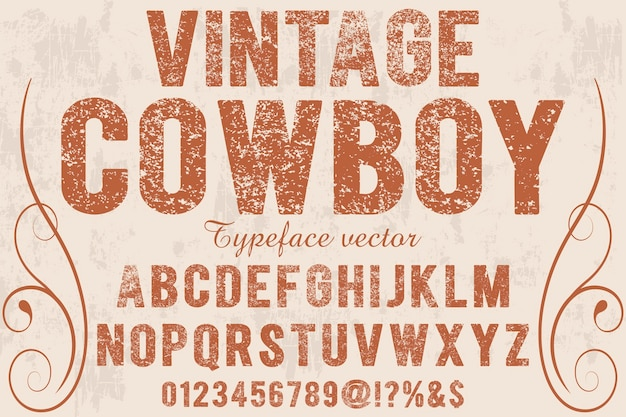 Carattere shadow effect vintage cowboy