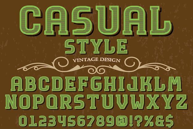 Carattere shadow effetto tipografia font design stile casual