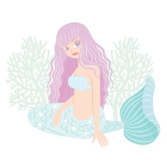 Carattere sirena con corallo