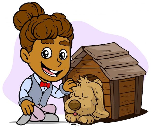 Carattere sorridente della ragazza del fumetto con il cane addormentato