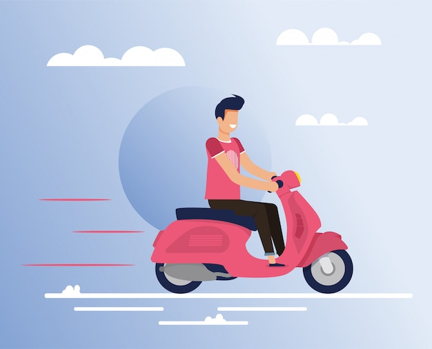 Carattere sorridente felice dell'uomo che guida il fumetto del ciclomotore