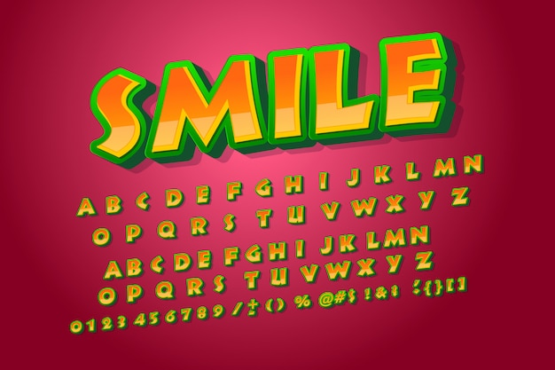 Carattere sorriso. alfabeto cool