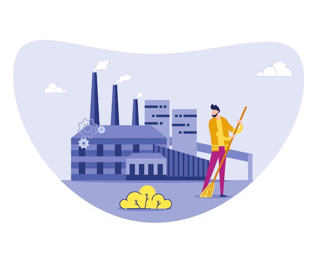 Carattere spazzante janitor character della fabbrica di riciclaggio.