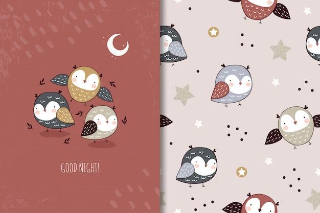 Carattere sveglio del fumetto dei piccoli gufi. illustrazione e set di pattern