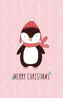 Carattere sveglio del pinguino del fumetto animale di natale per la cartolina d'auguri