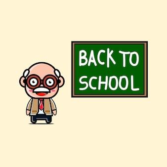 Carattere sveglio dell'insegnante con le parole di ritorno a scuola sul bordo verde.