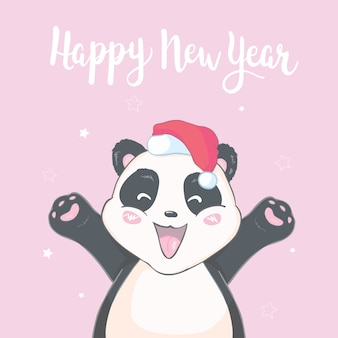 Carattere sveglio dell'orso di panda del fumetto di natale in cappello di santa con la carta isolata immagine di vettore del pompon