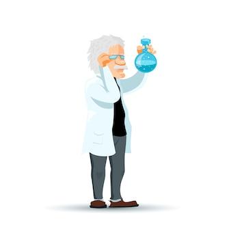 Carattere sveglio dello scienziato del fumetto con la boccetta chimica blu su bianco