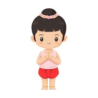 Carattere tailandese sveglio della ragazza in costume tradizionale nel rispetto dell'uso di azione per l'illustrazione
