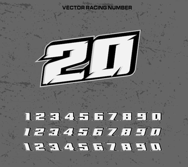 Carattere tipografia racing con numeri