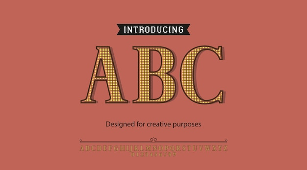 Carattere tipografico abc. per diversi tipi di disegni