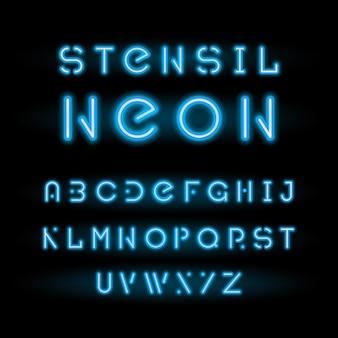 Carattere tipografico al neon dello stencil, alfabeto rotondo modulare blu
