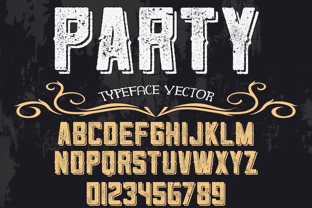 Carattere tipografico alfabeto, festa