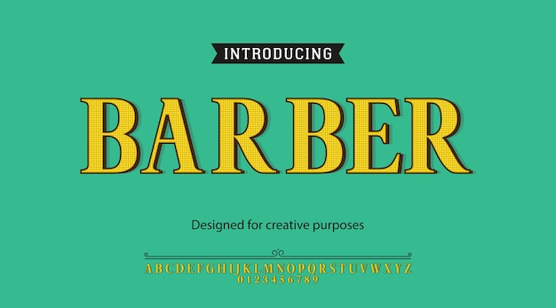 Carattere tipografico barbiere. per diversi tipi di disegni