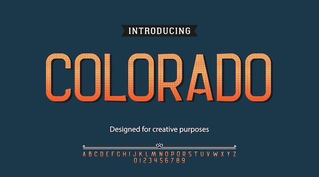Carattere tipografico colorado. tipo di carattere con alfabeto e numeri