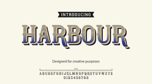 Carattere tipografico del porto. tipo di carattere con alfabeto e numeri