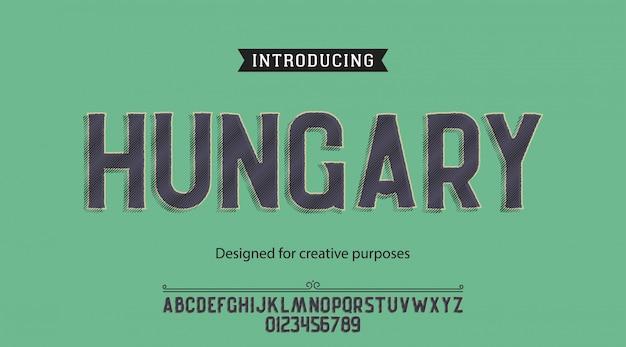 Carattere tipografico dell'ungheria. per etichette e disegni di tipi diversi