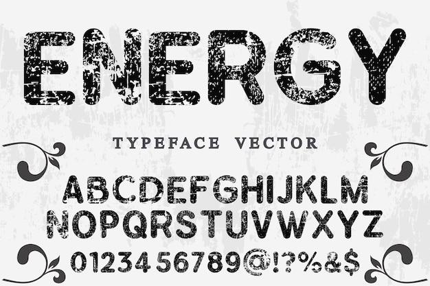 Carattere tipografico energia
