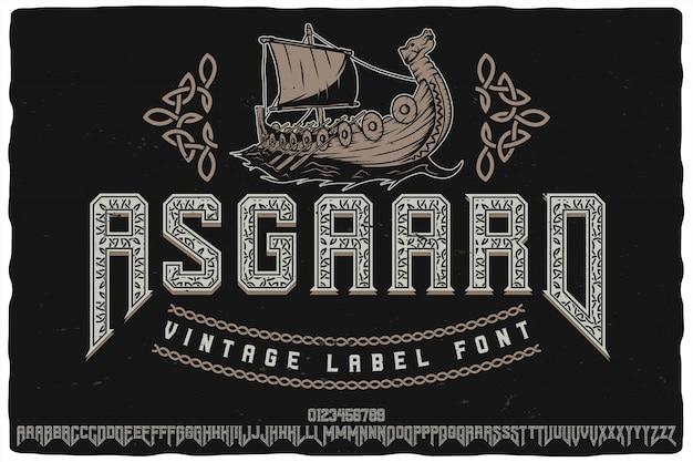 Carattere tipografico etichetta asgaard
